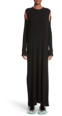 Marques Almeida Marques'Almeida Ribbed Cold Shoulder Maxi Dress
