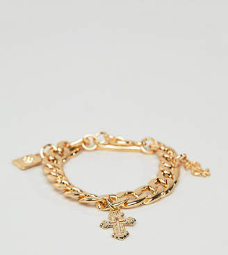 Glamorous Chunky Gold Bracelet With Charms