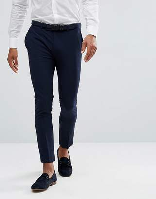 Asos Design Extreme Super Skinny Cropped Smart Trousers in Navy