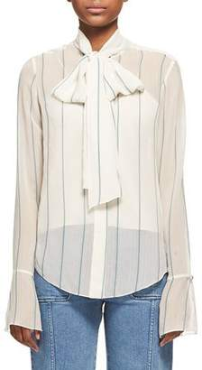Chloé Striped Chiffon Tie-Neck Shirt, White/Green