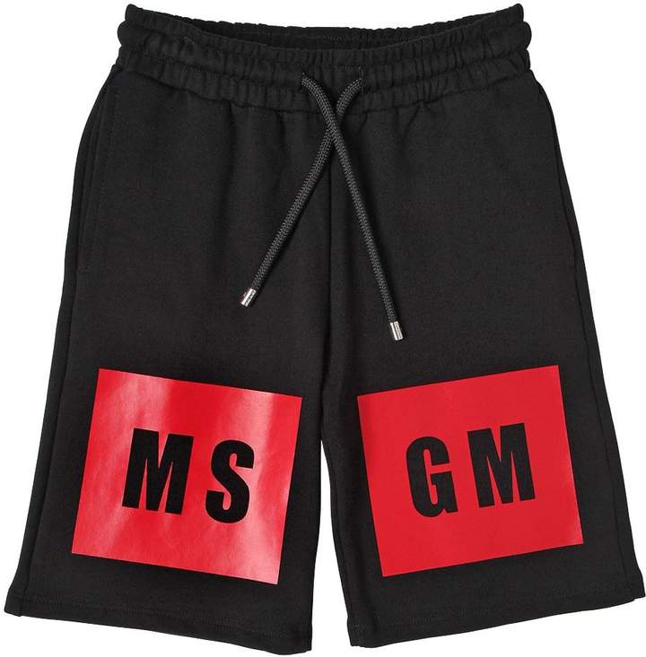 Logo Printed Cotton Sweat Shorts