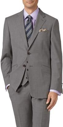 Charles Tyrwhitt Silver Adjustable Fit Cross Hatch Weave Italian Suit Wool Vest Size w44