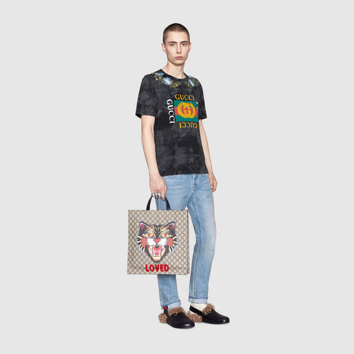 Cotton tie-dye t-shirt with Gucci print 11