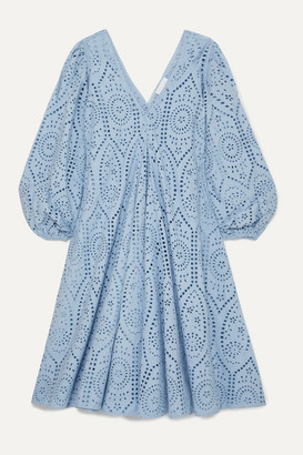 Ganni Broderie Anglaise Cotton Midi Dress - Light blue