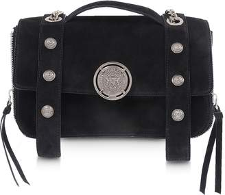 Balmain Black Leather Suede Effect BSoft 25 Flap Satchel Bag