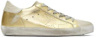 Golden Goose Gold and Grey Skate Superstar Sneakers
