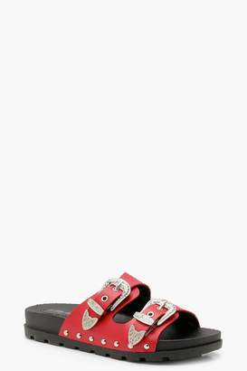 boohoo Buckle Detail Footbed Sandals