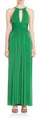 BCBGMAXAZRIA Key-Hole Halter Gown $338 thestylecure.com