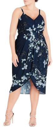 City Chic Navy Bloom Faux Wrap Dress