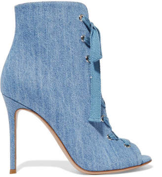 Gianvito Rossi - Lace-up Denim Boots - Light denim $1,095 thestylecure.com
