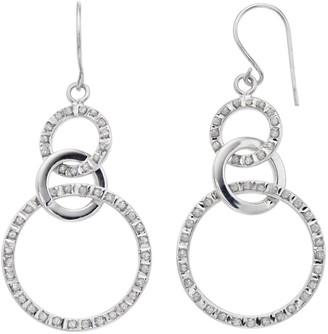 Mystique Platinum Over Silver Diamond Interlocking Circle Drop Earrings