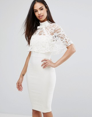 Vesper 2 In 1 Pencil Dress With Lace Cape Overlay $98 thestylecure.com