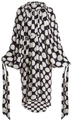 Awake Giant Polka Dot Print Gathered Crepe Dress - Womens - Navy White