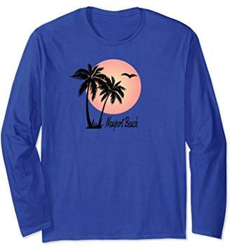 NEWPORT BEACH Souvenir TShirt Gift Palm Tree Sun