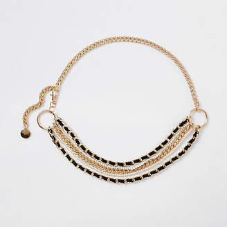 River Island White pearl and chain waist belt