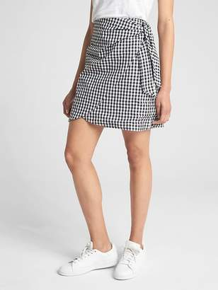 Gap Gingham Print Wrap Mini Skirt