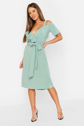 boohoo Petite Plunge Ruffle Belt Midi Dress