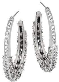 Freida Rothman Rose D'or Textured Sterling Silver & Crystal Hoop Earrings
