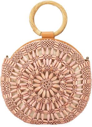 Aranaz Shell Sunburst Round Top-Handle Bag, Pink