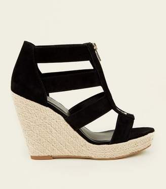 New Look Black Suedette Zip Front Espadrille Wedges