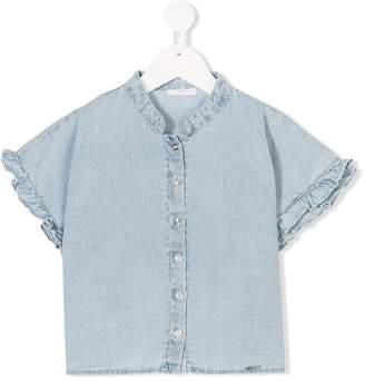 Liu Jo Kids ruffle trim denim shirt