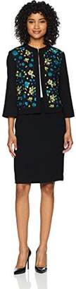 Tahari by Arthur S. Levine Women's Round Neck Jacket with Embroidered MESH Skirt Suit