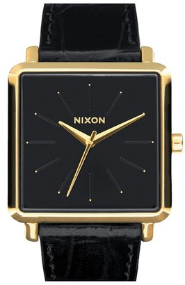Women's Nixon 'The K Squared' Leather Strap Watch, 32Mm X 30Mm $150 thestylecure.com