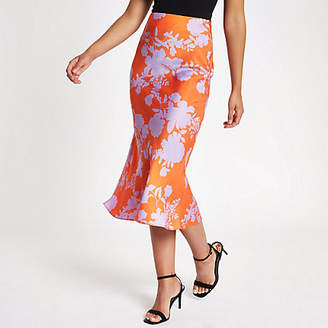 River Island Womens Pink floral print satin midi skirt