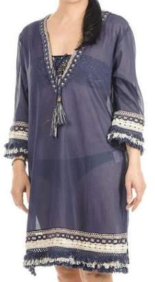 Black Indigo and Gold Cotton Kaftan Dress