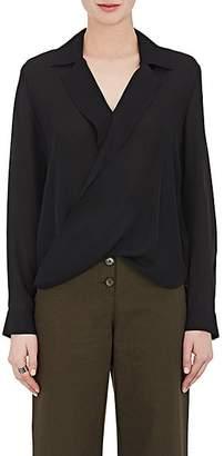 L'Agence Women's Rita Draped Silk Blouse - Black