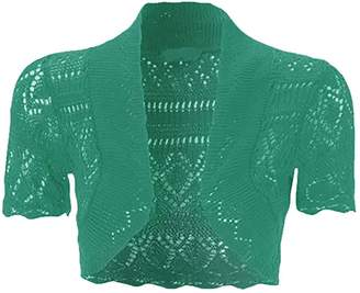 RIDDLED WITH STYLE Womens Crochet Short Sleeve Bolero Shrug#( Crochet Short Sleeves Bolero Shrug#UK 24-26#Womens)