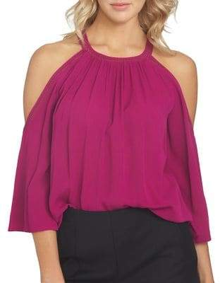 1 STATE 1.STATE Embroidered Cold-Shoulder Top