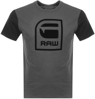 G Star Raw Logo T Shirt Grey