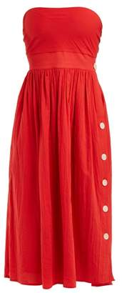 Loup Charmant - Strapless Tie Back Cotton Dress - Womens - Red