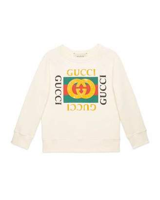 Gucci Long-Sleeve Gucci Print Sweatshirt, Size 4-12 $230 thestylecure.com