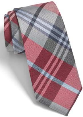 The Tie Bar 'Crystal Wave' Silk & Linen Plaid Tie