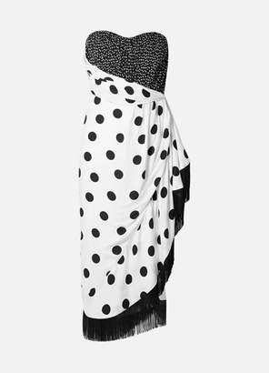 Semsem Fringed Polka-dot Twill And Jersey Dress - White