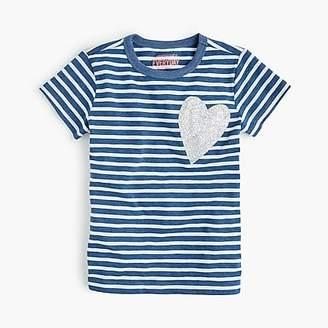J.Crew Girls' striped heart T-shirt