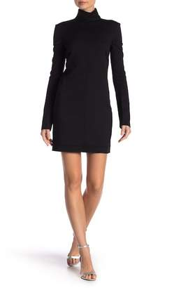 Helmut Lang Long Cutout Sleeve Wool Blend Mini Dress