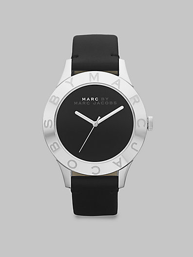 Marc by Marc Jacobs Stainless Steel Logo Matte Leather Watch/Black