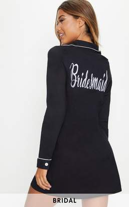 PrettyLittleThing Black Bridesmaid Embroidered Back Piping Detail Nightshirt