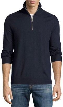 Burberry Merino Wool 1/2-Zip Sweater w/Check Shoulders, Navy $385 thestylecure.com