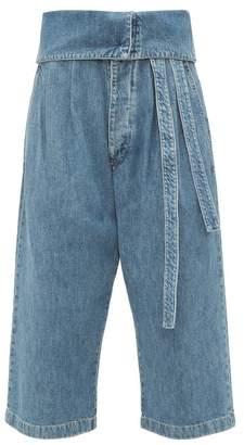 Loewe Turnover Top Cropped Jeans - Womens - Denim