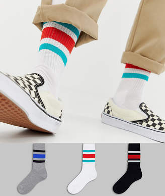 Asos Design DESIGN 3 pack sports style socks with retro wide stripes save
