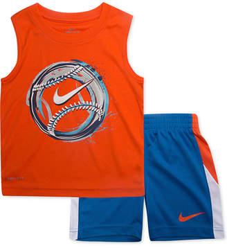 Nike Toddler Boys 2-Pc. Baseball-Print Muscle Tank & Shorts Set