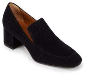 Aquatalia Jilianne Velour Block Heel Loafers