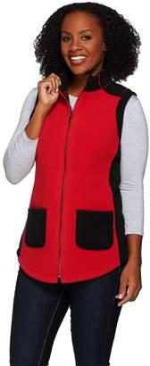 Susan Graver Weekend Bonded Polar Fleece Zip Front ColorBlock Vest