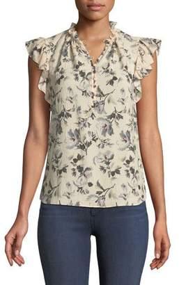 Rebecca Taylor Sofia Floral-Print Silk Button-Front Top
