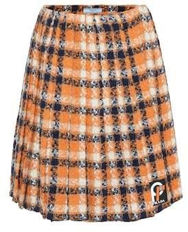 Prada Wool tweed pleated skirt