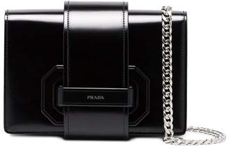 Prada Black plex ribbon leather shoulder bag